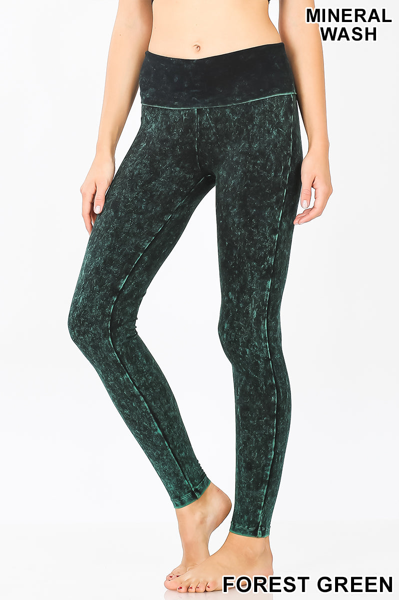 MINERAL WASHED FOLD-OVER WAIST YOGA LEGGINGS | Zenana Outfitters