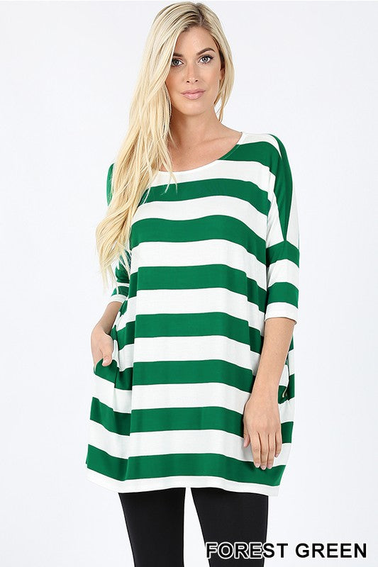 STRIPE DROP SHOULDER HALF SLEEVE BOXY TOP | Zenana Outfitters