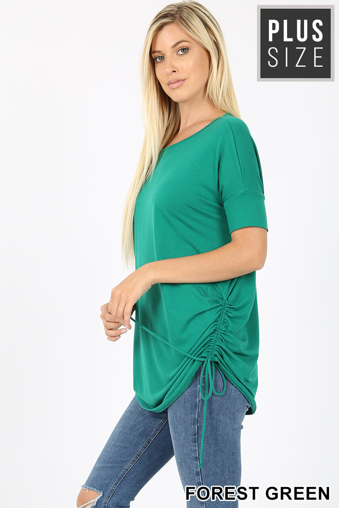 PLUS PREMIUM SHORT SLEEVE ROUND NECK RUCHED TOP - Zenana Outfitters Women's Clothing