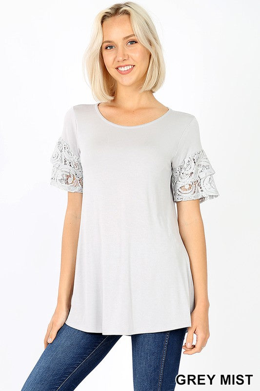 LUXE RAYON 2 TIERED RUFFLE LACE SLEEVE TOP - Zenana Outfitters Women's Clothing