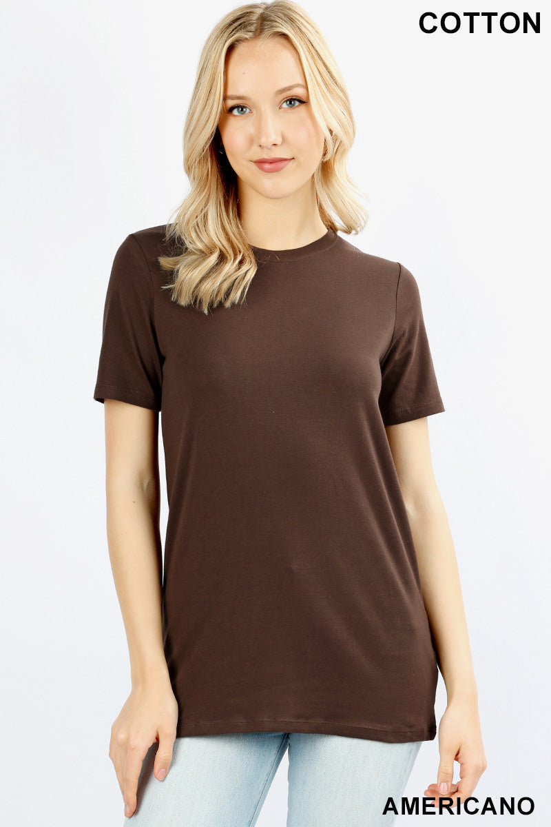 COTTON CREW NECK  SHORT SLEEVE T-SHIRT - Zenana Outfitters Women's Clothing