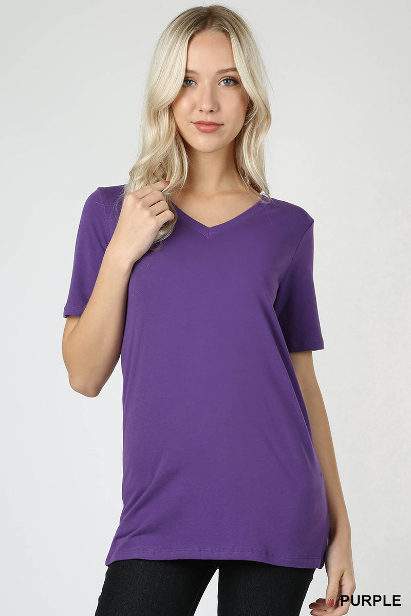 COTTON V-NECK SHORT SLEEVE T-SHIRTS - Zenana Outfitters Women's Clothing
