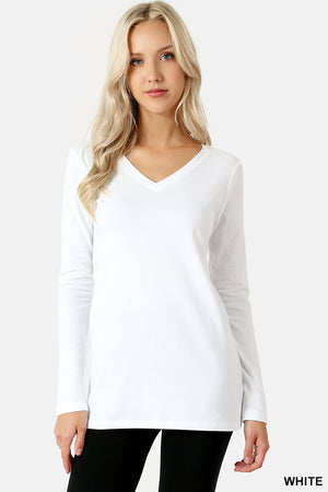 COTTON V-NECK LONG SLEEVE T-SHIRT