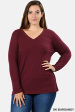 PLUS COTTON V-NECK LONG SLEEVE T-SHIRT