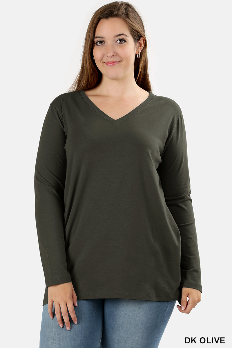 PLUS COTTON V-NECK LONG SLEEVE T-SHIRT - Zenana Outfitters Women's Clothing