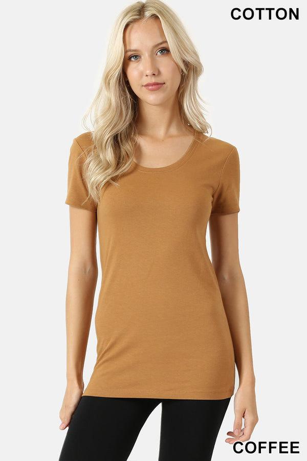 BASIC SCOOP NECK SHORT SLEEVE TEE - Zenana Outfitters Women's Clothing
