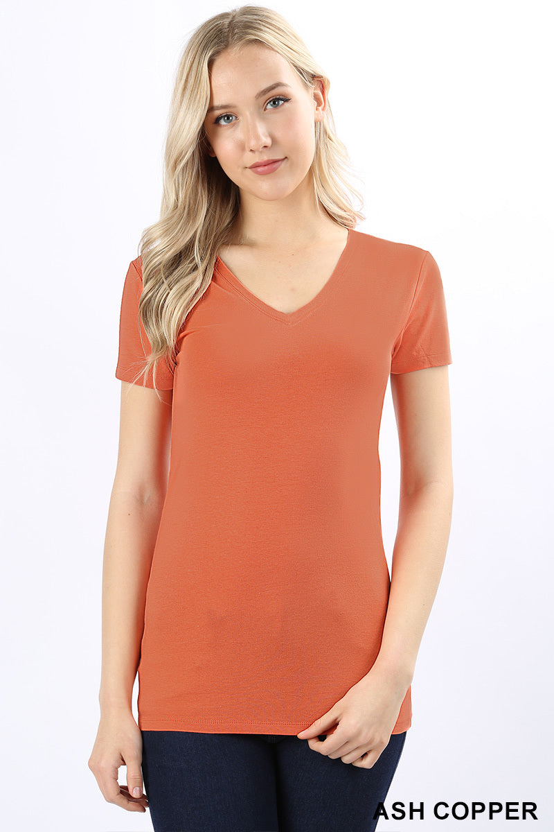 BASIC COTTON V-NECK SHORT SLEEVE