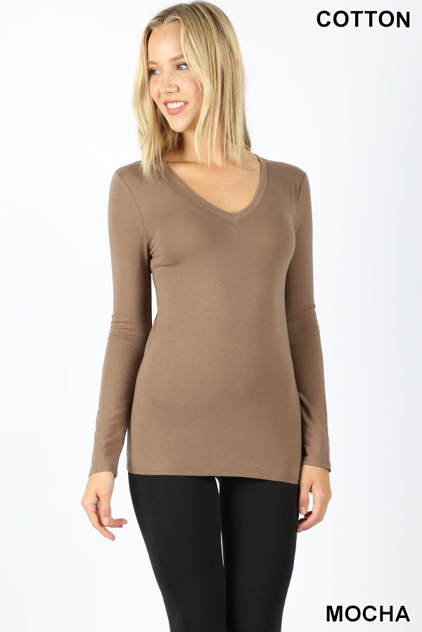 COTTON V-NECK LONG SLEEVE TOP