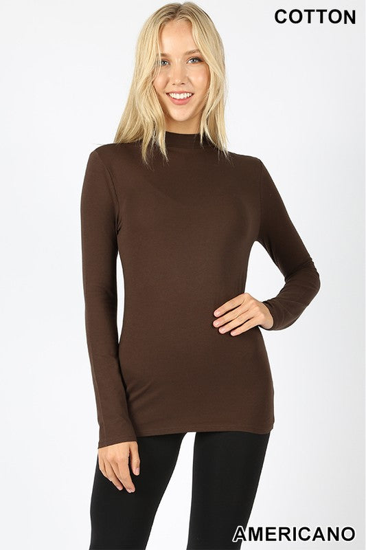 COTTON LONG SLEEVE MOCK NECK TOP - Zenana Outfitters Women's Clothing