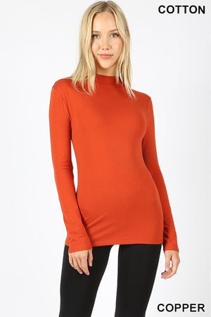COTTON LONG SLEEVE MOCK NECK TOP