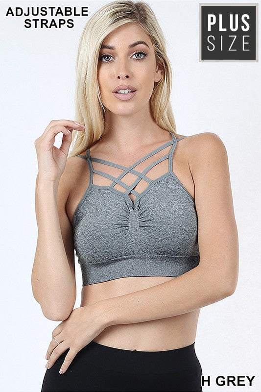 PLUS SEAMLESS DOUBLE CRISS CROSS BRALETTE