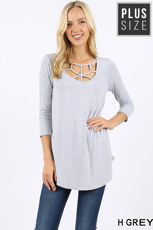 PLUS 3/4 SLEEVE WEB DETAIL FRONT ROUND HEM TOP - Zenana Outfitters Women's Clothing