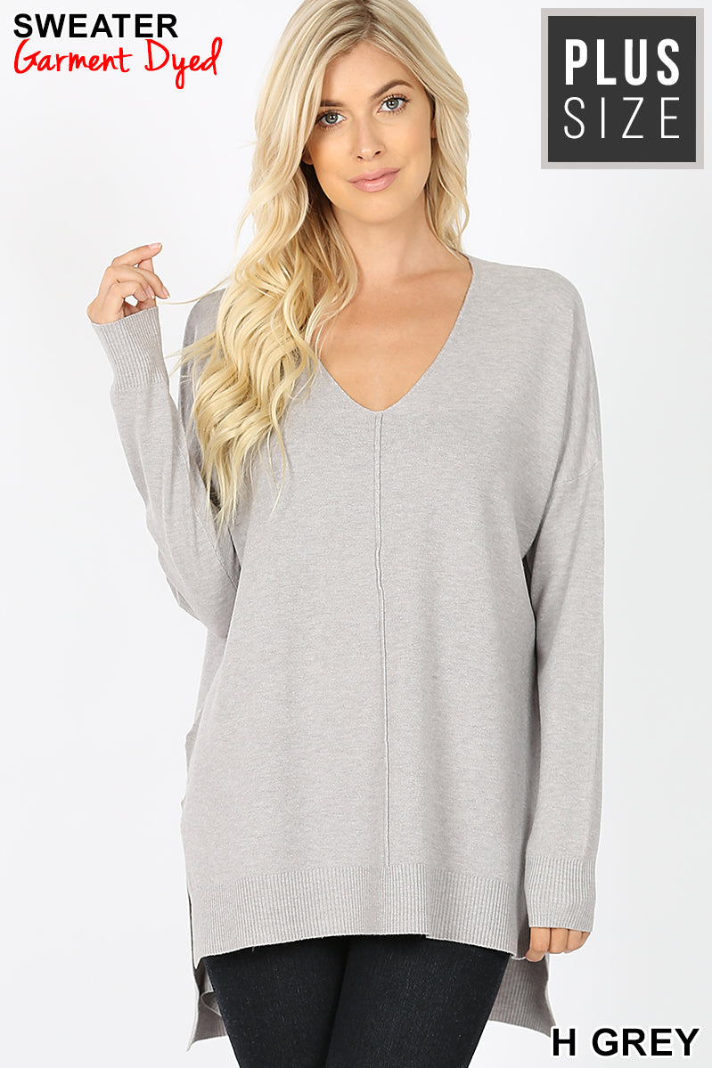 PLUS HI-LOW HEM V-NECK CENTER SEAM SWEATER - Zenana Outfitters Women's Clothing