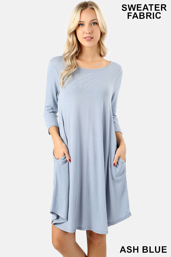 SWEATER FABRIC 3/4 SLEEVE A-LINE DRESS - Zenana Outfitters Women's Clothing