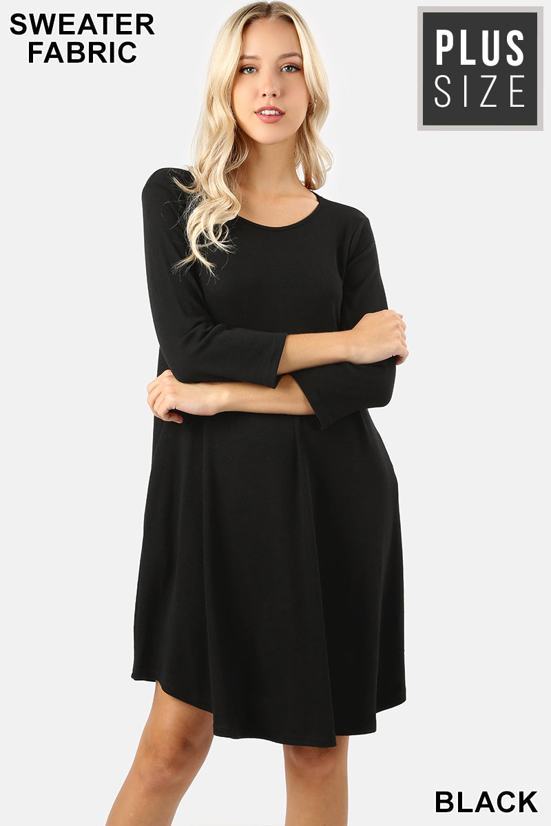 PLUS SWEATER FABRIC 3/4 SLEEVE A-LINE DRESS - Zenana Outfitters Women's Clothing
