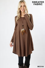 SWEATER FABRIC LONG SLEEVE ROUND HEM DRESS