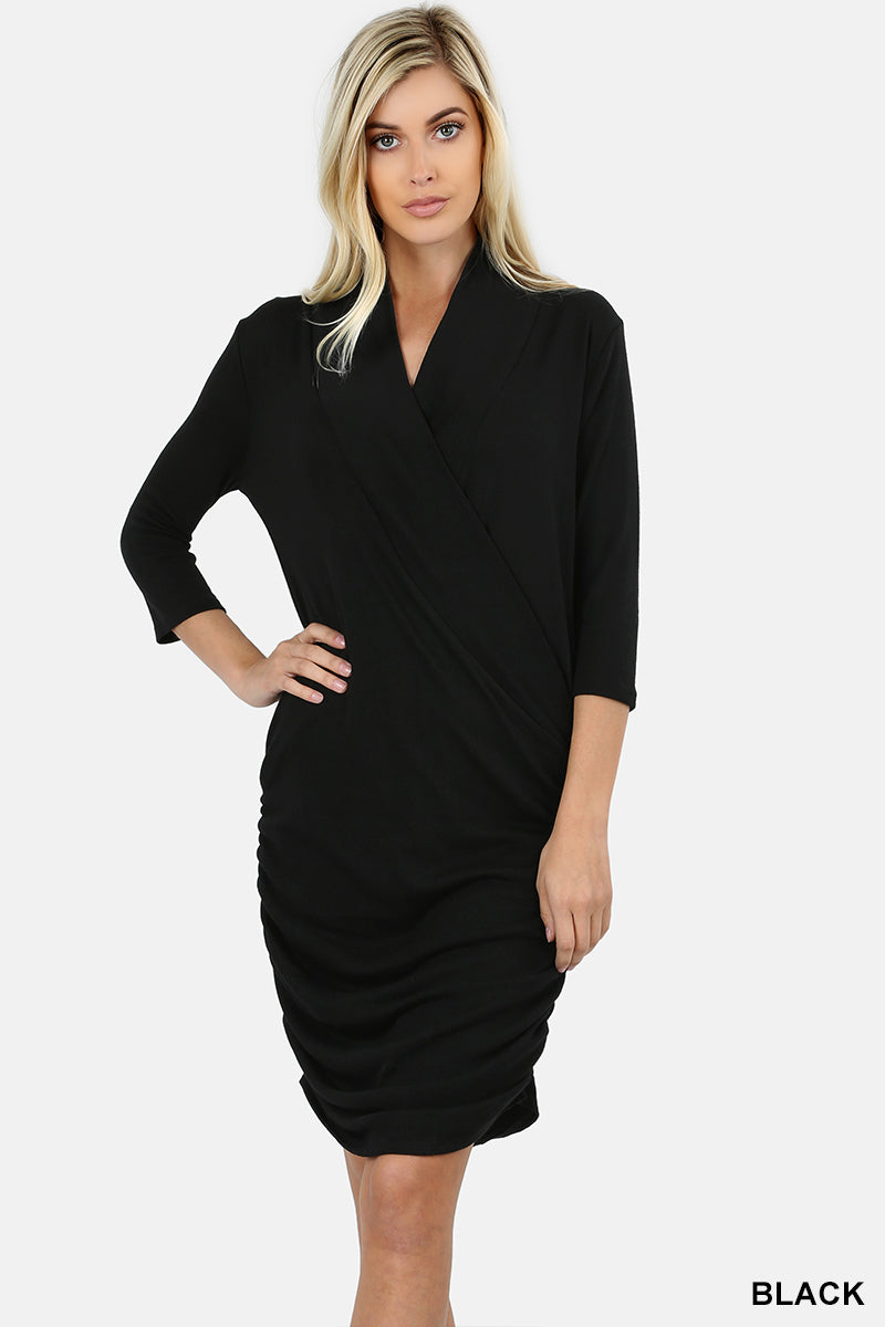 SWEATER 3/4 SLEEVE WRAP DRESS WITH SHIRRED SIDE - Zenana Outfitters Women's Clothing