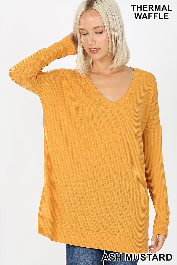 BRUSHED THERMAL WAFFLE V-NECK SWEATER - Zenana Outfitters Women's Clothing