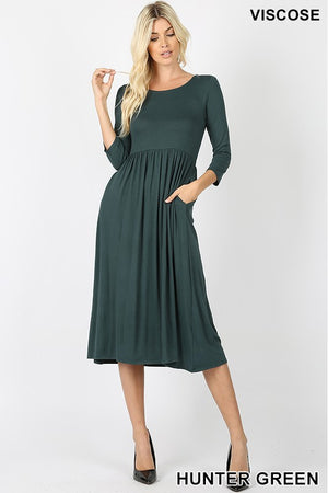 VISCOSE 3/4 SLEEVE ROUND NECK WAIST SHIRRING DRESS