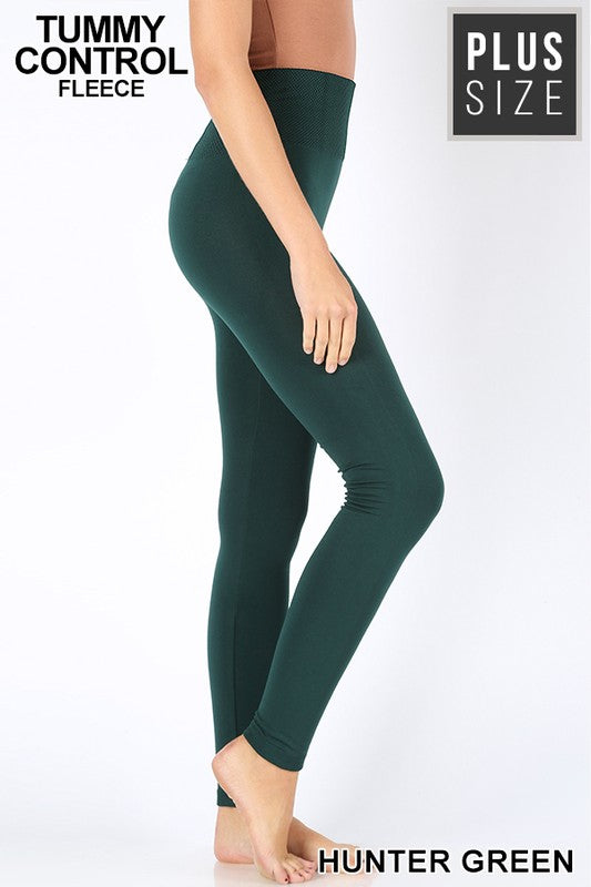 PLUS TUMMY-CONTROL FLEECE HIGH WAIST LEGGINGS