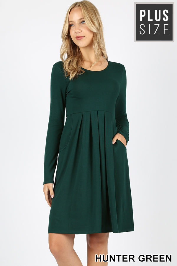 PLUS PREMIUM PLEATED WAIST LONG SLEEVE DRESS - Zenana Outfitters Women's Clothing