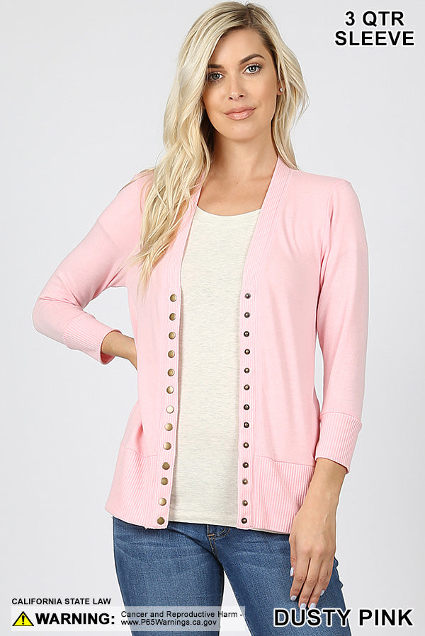 SNAP BUTTON SWEATER CARDIGAN 3/4 SLEEVE - DUSTY PINK | Zenana Outfitters