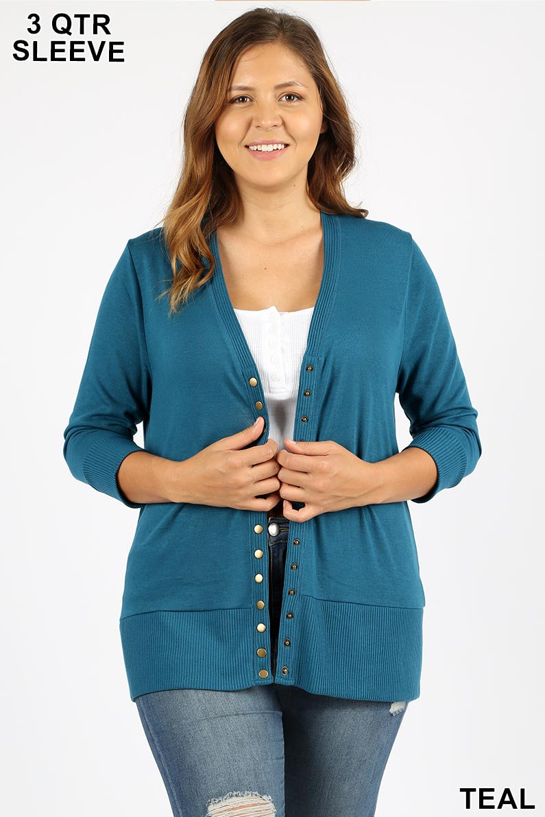 PLUS SNAP BUTTON SWEATER CARDIGAN 3/4 SLEEVE