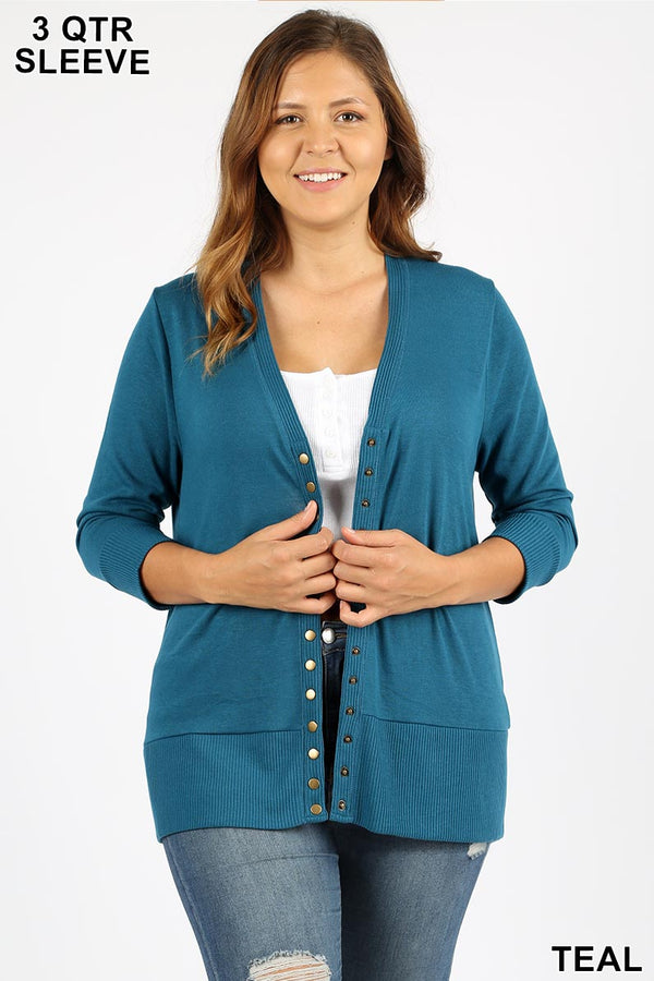 PLUS SNAP BUTTON SWEATER CARDIGAN 3/4 SLEEVE - Zenana Outfitters Women's Clothing