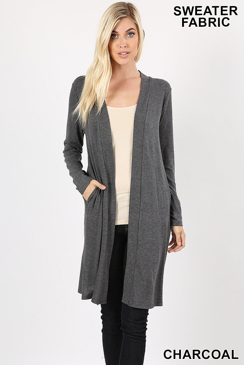 SWEATER OPEN FRONT LONGLINE CARDIGAN