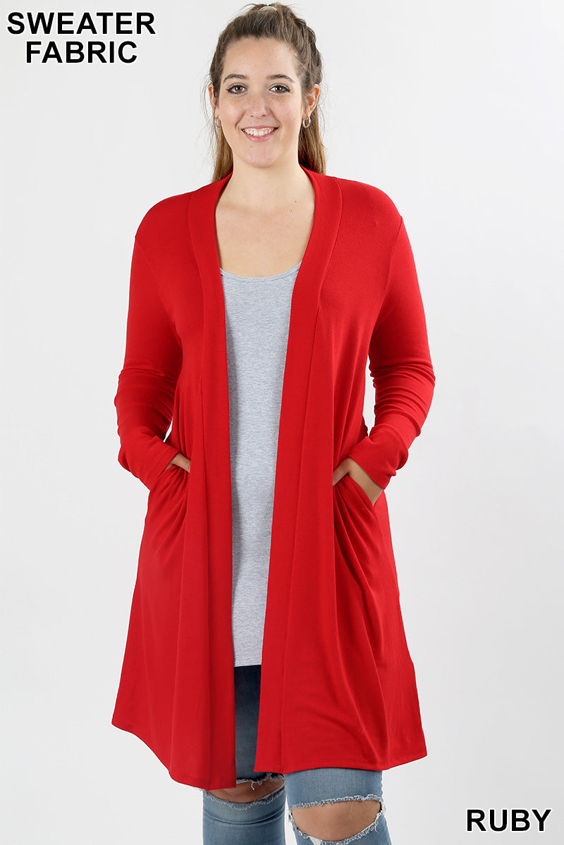 PLUS SWEATER OPEN FRONT LONGLINE CARDIGAN