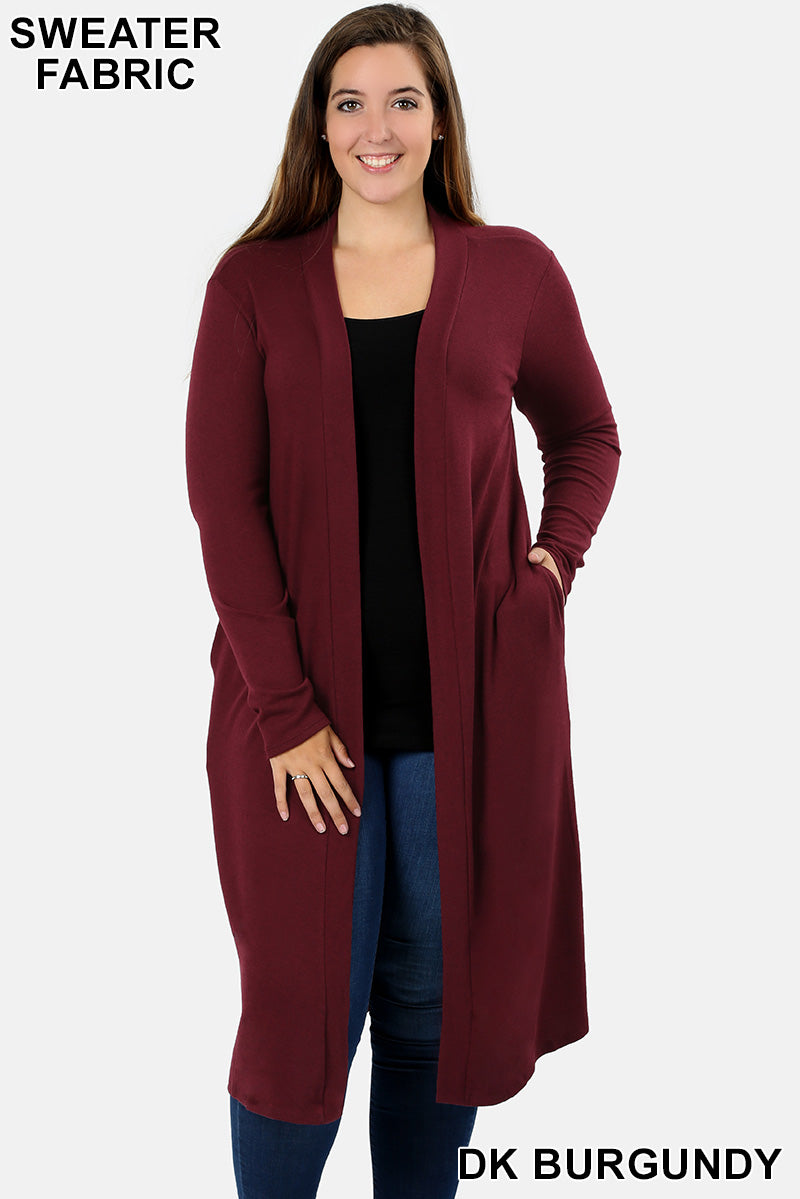 PLUS SWEATER  DUSTER CARDIGAN WITH SIDE POCKETS