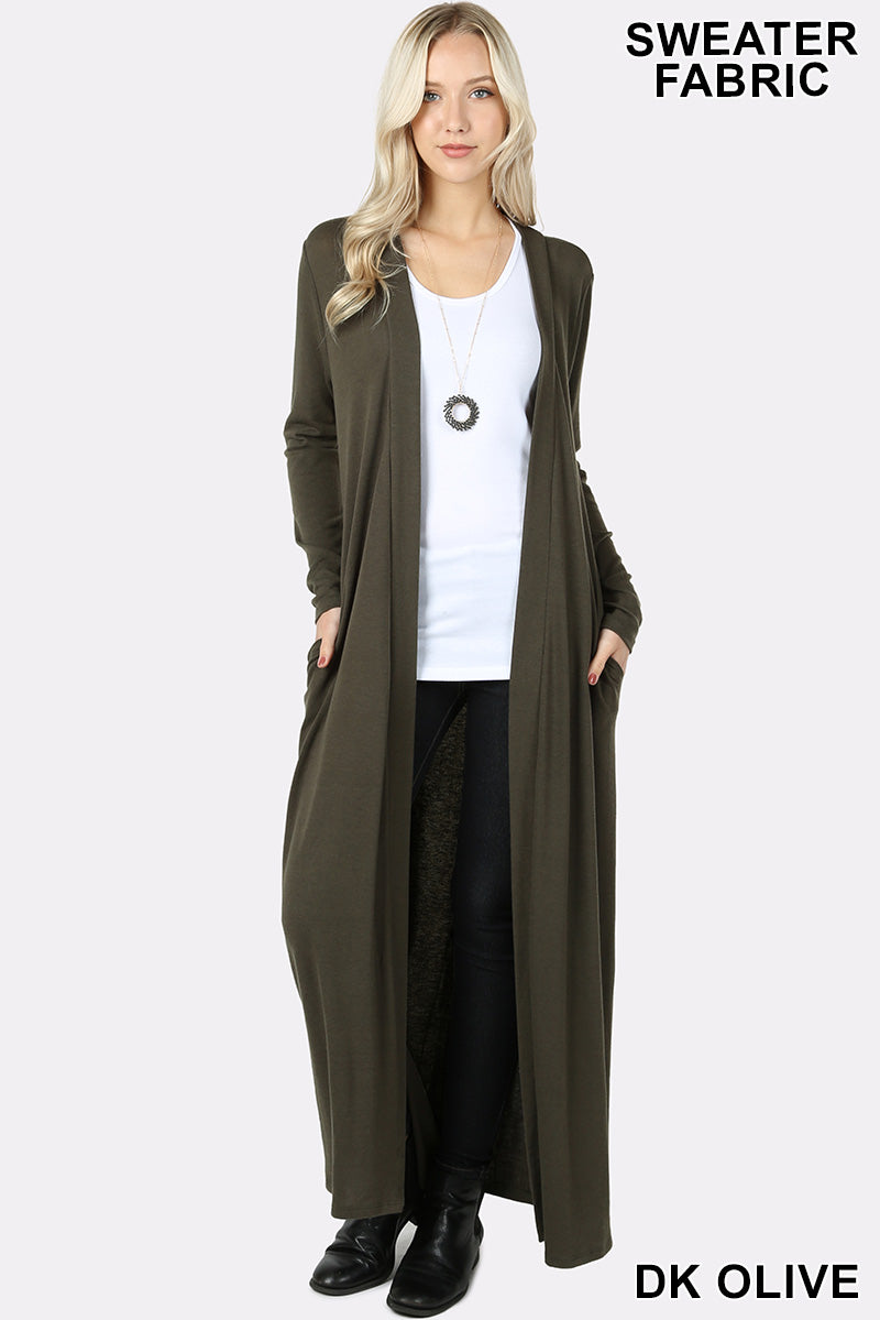 OPEN FRONT DUSTER LONG CARDIGAN - Zenana Outfitters Women's Clothing