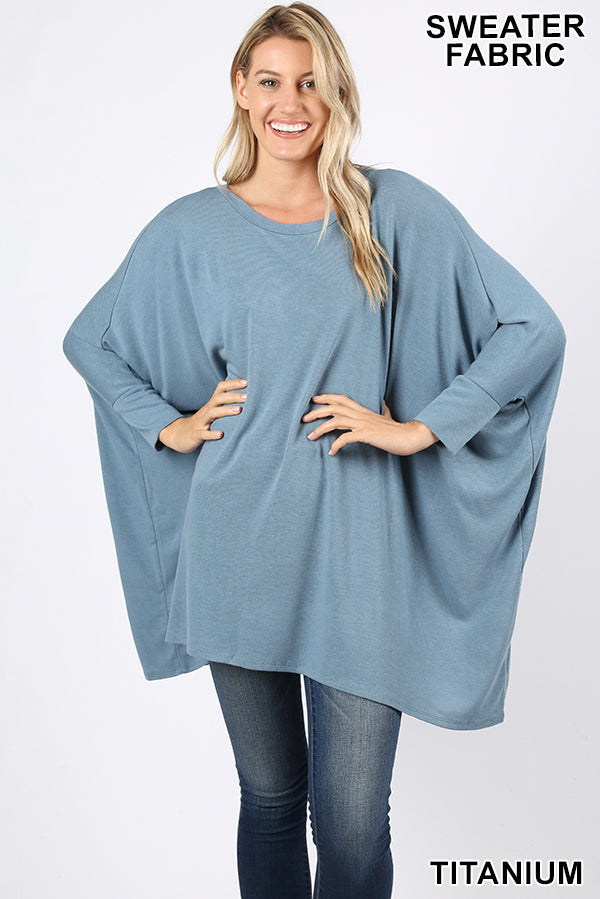 SWEATER FABRIC PONCHO WITH SLEEVES - Zenana Outfitters Women's Clothing