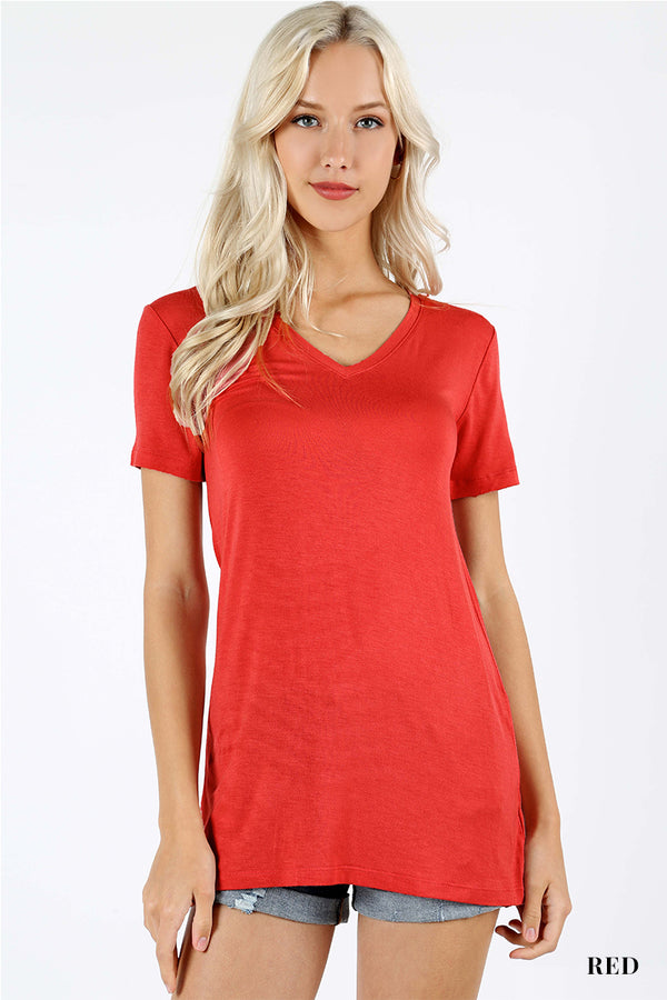 RAYON SHORT SLEEVE V-NECK TEE - Zenana Outfitters Women's Clothing
