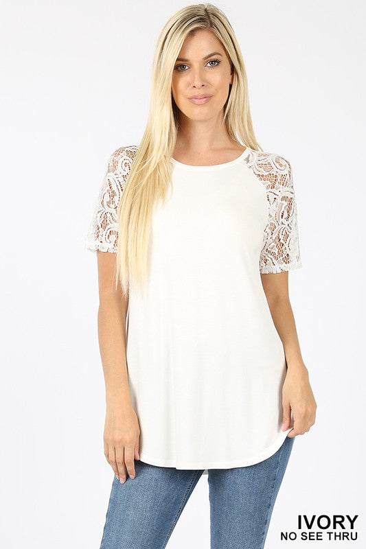 PREMIUM LACE SHORT SLEEVE ROUND NECK & HEM TOP - Zenana Outfitters Women's Clothing