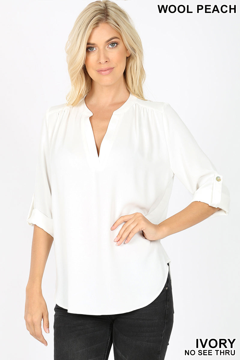 WOVEN HENLEY BLOUSE SPLIT NECK - Zenana Outfitters Women's Clothing