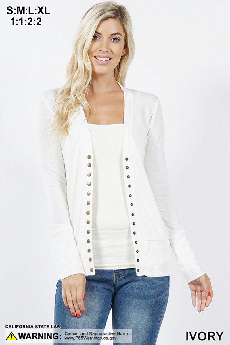 SNAP BUTTON SWEATER CARDIGAN - Zenana Outfitters Women's Clothing