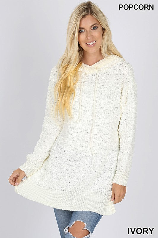 HOODED LONG SLEEVE POPCORN SWEATER WITH SIDE SLITS - Zenana Outfitters Women's Clothing