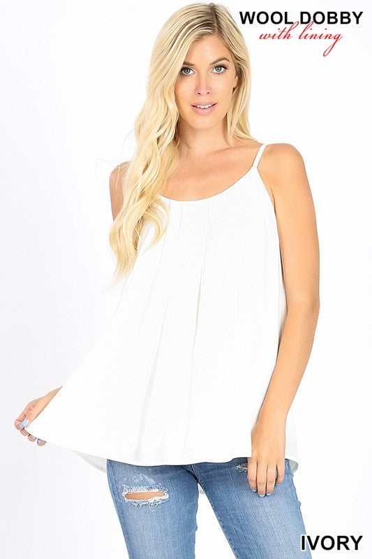 WOOL DOBBY PLEATED  SPAGHETTI CAMI WITH LINING - Zenana Outfitters Women's Clothing
