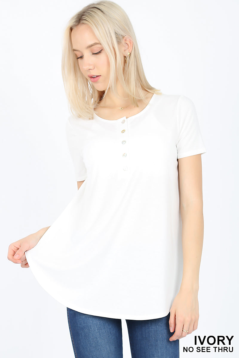 SHORT SLEEVE DOLPHIN HEM SHELL BUTTON TOP - Zenana Outfitters Women's Clothing