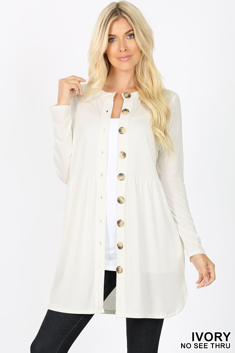 SHIRRED WAIST BUTTONED CARDIGAN WITH SIDE POCKET - Zenana Outfitters Women's Clothing