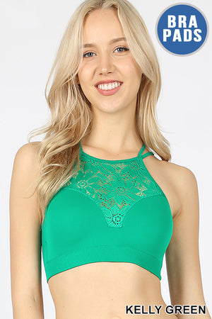 HIGH NECK LACE CUTOUT BRALETTE WITH BRAD PADS - Zenana Outfitters Women's Clothing