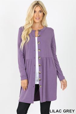 SHIRRED WAIST BUTTONED CARDIGAN WITH SIDE POCKET | Zenana Outfitters