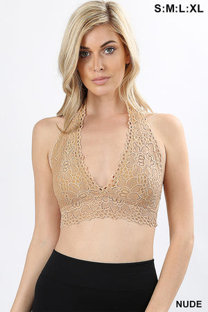 LACE HALTER STRETCH BRALETTE WITH LINING