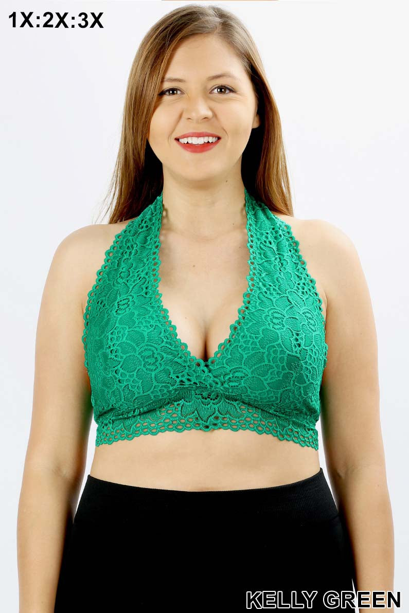 PLUS LACE HALTER STRETCH BRALETTE WITH LINING - Zenana Outfitters Women's Clothing