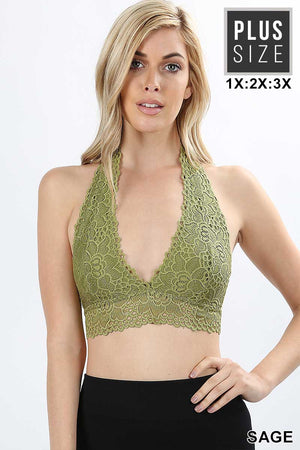 PLUS LACE HALTER STRETCH BRALETTE WITH LINING