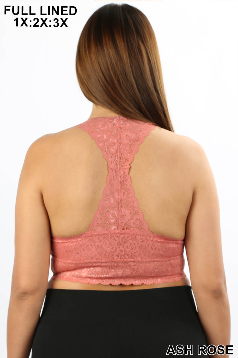 PLUS STRETCH LACE BRALETTE HOURGLASS BACKING - Zenana Outfitters Women's Clothing
