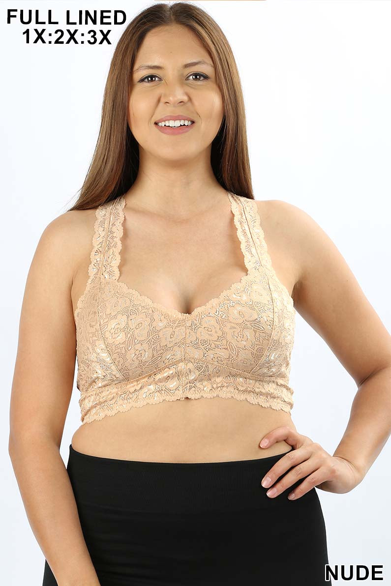 PLUS STRETCH LACE BRALETTE HOURGLASS BACKING