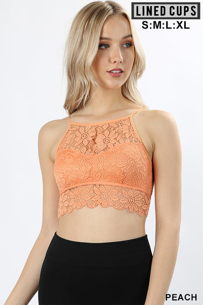 KEYHOLE HIGH NECK STRETCH LACE BRALETTE WITH LINED CUPS