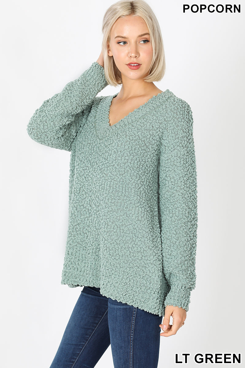 LONG SLEEVE POPCORN V-NECK SWEATER - Zenana Outfitters Women's Clothing